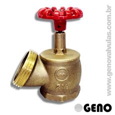 Válvula Angular 45° para Hidrante com Entrada 2.1/2'' rosca interna BSP 11 FPP e Saída 2.1/2'' rosca externa NBR 5 FPP.