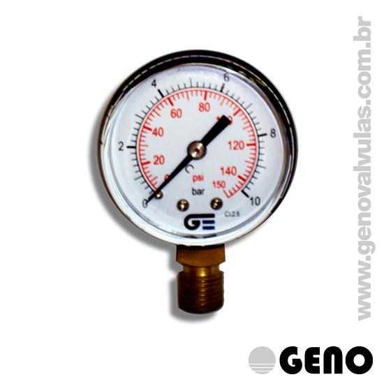 Dispositivo para visualização da pressão na rede, podendo ser acoplada diretamente a Válvula Redutora de Pressão para visualização da pressão de saída da Válvula. Conexão à rede na parte inferior do manômetro.